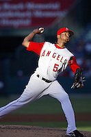 Ervin Santana of the Los Angeles Angels during a 2007 MLB season game at Angel Stadium in Anaheim, California. (Larry Goren/Four Seam Images)