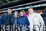 Micheal O'Sullivan, Richard Flaherty Aaron Thompson and Dean Synnott Ardfert supporters at the Intermediate All Ireland Club Final in Croke Park on Saturday.