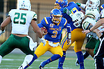 BROOKINGS, SD - SEPTEMBER 17: Taryn Christion #3 from South Dakota State University looks for room past Chris Santini #25 from Cal Poly in the first half of their game Saturday night at the Dana J. Dykhouse Stadium in Brookings. (Photo by Dave Eggen/Inertia)