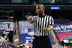 03 March 2016: Referee Eric Brewton. The Duke University Blue Devils played the University of Virginia Cavaliers at the Greensboro Coliseum in Greensboro, North Carolina in the Atlantic Coast Conference Women's Basketball tournament and a 2015-16 NCAA Division I Women's Basketball game. Duke won the game 57-53.