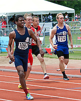 Carthage junior Cameron Priester (774), and Jackson's Brannon Wright and Truman's Toy Bay, all chase SLUH's Raymond Wingo in the Class 4 Boys 100 meter finals at the Missouri High School Class 3-4 State Track and Field Championships, Saturday, May 25, in Jefferson City. Running into the wind, Wingo ran away with the title in 10.85 while Bay was second in 11.04, Wright was 6th in 11.25 and Priester was 8th in 11.32.