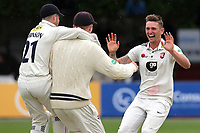 Harry Podmore of Kent celebrates taking the wicket of Ravi Bopara during Essex CCC vs Kent CCC, Specsavers County Championship Division 1 Cricket at The Cloudfm County Ground on 29th May 2019