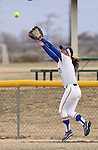 Western Nevada College Wildcats' Melanie Mecham makes a catch for an out at the centerfield fence against College of Southern Idaho at Edmonds Sports Complex, in Carson City, Nev., on Friday, Feb. 27, 2015. CSI won the opener 11-2.<br /> Photo by Cathleen Allison/Nevada Photo Source