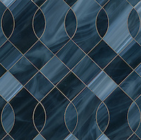Vivian, a jewel glass water jet mosaic, shown in Marcasite, is part of the Ann Sacks Beau Monde collection sold exclusively at www.annsacks.com