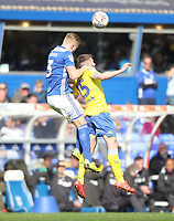 Leeds United's Stuart Dallas jumps with Birmingham City's Kristian Pedersen <br /> <br /> Photographer Mick Walker/CameraSport<br /> <br /> The EFL Sky Bet Championship - Birmingham City v Leeds United - Saturday 6th April 2019 - St Andrew's - Birmingham<br /> <br /> World Copyright © 2019 CameraSport. All rights reserved. 43 Linden Ave. Countesthorpe. Leicester. England. LE8 5PG - Tel: +44 (0) 116 277 4147 - admin@camerasport.com - www.camerasport.com