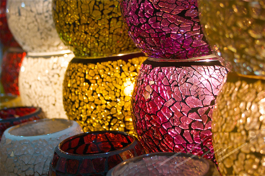 """Traditional mosaic lighting fixtures used among a wide range of Arab countries, know for """"Fawanees"""" for plural and """"Fanoos"""" for singular.  They are made of metal and colorful glass.  These particular ones are found in The Grand Bazar, Istanbul, Turkey."""