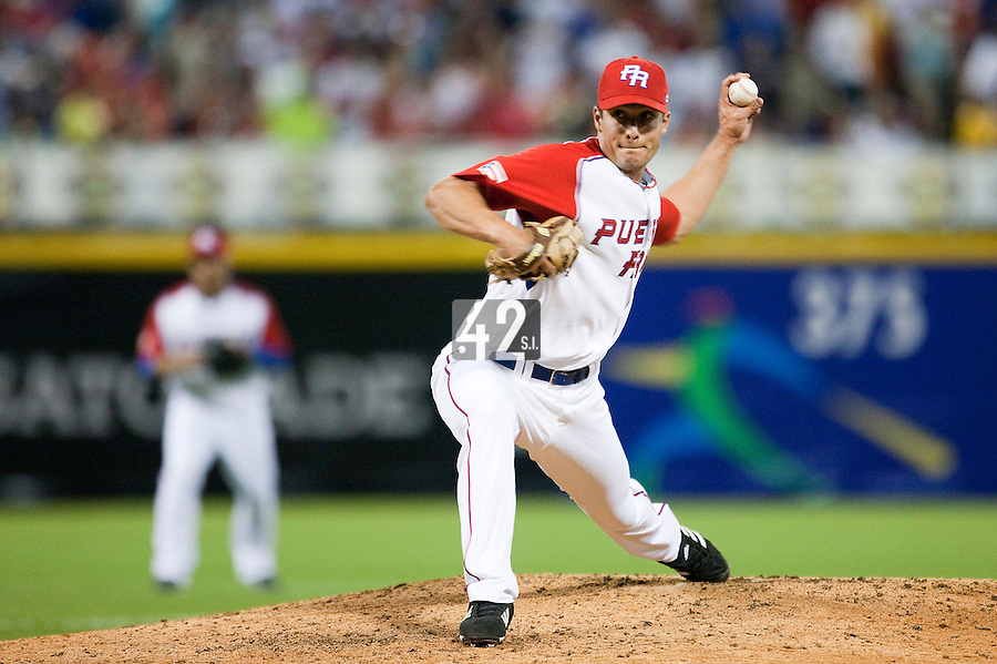 11 March 2009: #48 Javier Lopez of Puerto Rico pitches against the Netherlands during the 2009 World Baseball Classic Pool D game 6 at Hiram Bithorn Stadium in San Juan, Puerto Rico. Puerto Rico wins 5-0 over the Netherlands