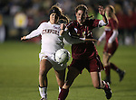 03 December 2010: Stanford's Camille Levin (2) and Boston College's Alyssa Pember (6). The Stanford University Cardinal defeated the Boston College Eagles 2-0 at WakeMed Stadium in Cary, North Carolina in an NCAA Women's College Cup semifinal game.