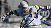 Josh Byrne #22 of Hofstra University, back, celebrates with teammate Ryan Tierney #43 after scoring on a pass from him to extend the Pride's lead over visiting Monmouth to 7-3 in the second quarter of an NCAA Division I men's lacrosse game at Shuart Stadium in Hempstead, NY on Saturday, Feb. 18, 2017. Byrne tallied three goals and three assists in Hofstra's 11-9 win.