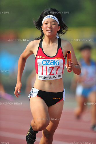 Anna Doi (Asaka-Daiichi), .AUGUST 21, 2010 - Athletics : .37th National Junior High School Athletics Championships Women 4x100m Relay at Tottori Prefectural Fuse Sports Park Athletic Stadium in Tottori, Japan. (Photo by Jun Tsukida/AFLO SPORT)