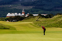 Delaney Shah (USA) on the 1st green during Round 1 of the Women's Amateur Championship at Royal County Down Golf Club in Newcastle Co. Down on Tuesday 11th June 2019.<br /> Picture:  Thos Caffrey / www.golffile.ie<br /> <br /> All photos usage must carry mandatory copyright credit (© Golffile | Thos Caffrey)