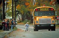 Children at school bus stop