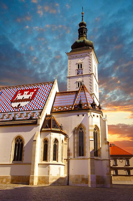 Late Gothic church of St. Mark's Church (Crkva sv. Marka) , Zagreb, Croatia