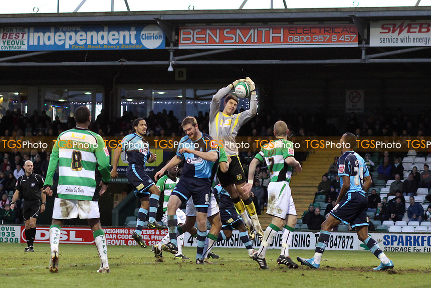 Yeovil Town goalkeeper, Alex McCarthy, makes a fine save during Yeovil Town vs Wycombe Wanderers, Coca Cola League Division One Football at Huish Park on 26th December 2009