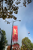 USA, Oregon, Ashland, detail of downtown and a Shakespeare Festival Flag