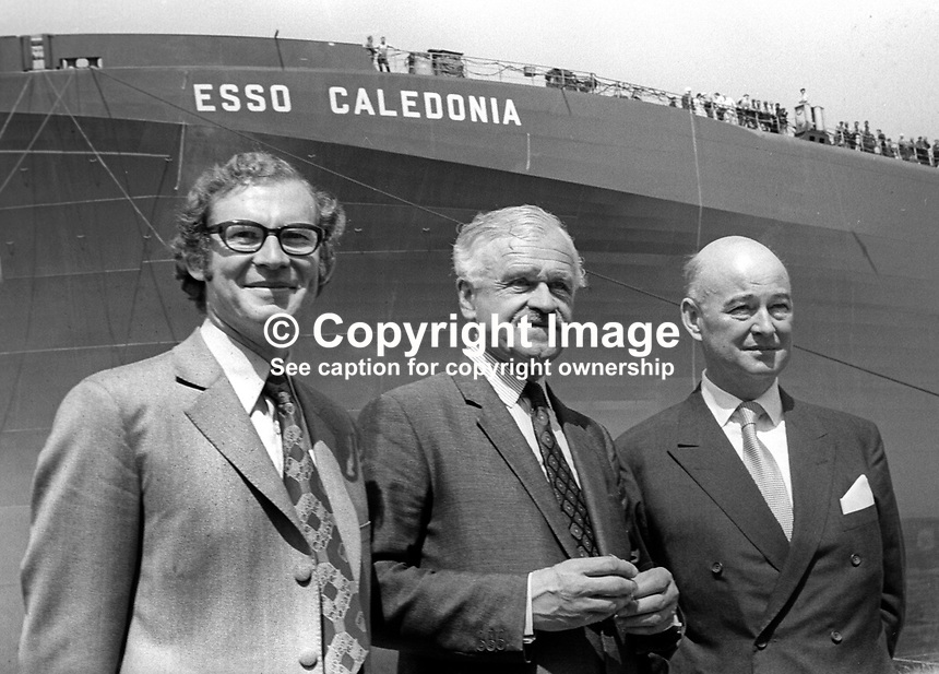 Esso Caledonia supertanker naming ceremony at Harland &amp; Wolff Shipyard, Belfast, N Ireland, UK, July 1971. Left to right: Robin Bailie, MP, Ulster Unionist, Minister of Commerce, NI Parliament, Stormont; Lord Rochdale, new chairman, Harland &amp; Wolff; and Iver Hoppe, the shipyard&rsquo;s new Danish managing director. 197107000260<br />