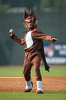 """""""Count Chocula"""" throws out the ceremonial first pitch prior to the Appalachian League game between the Bristol Pirates and the Johnson City Cardinals at Howard Johnson Field at Cardinal Park on July 6, 2015 in Johnson City, Tennessee.  The Pirates defeated the Cardinals 2-0 in game one of a double-header. (Brian Westerholt/Four Seam Images)"""