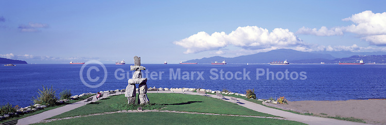 "The Inukshuk at English Bay, in the West End of Vancouver, British Columbia, Canada - Artist: ""Alvin Kanak"" - Panoramic View"
