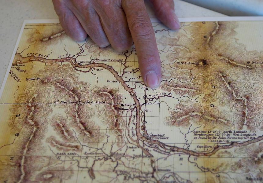 Don Higgins points to a feature on an old map as he talks about the latest annual Battle Ground History Mystery in Battle Ground Friday September 9, 2016. Photo by Natalie Behring)