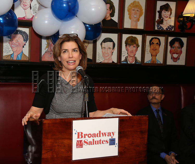 Julie Menin and David Hyde Pierce attends The Broadway League and the Coalition of Broadway Unions and Guilds (COBUG) presents the 9th Annual Broadway Salutes at Sardi's on November , 2017 in New York City.