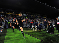 Beauden Barrett runs out for the Rugby Championship match between the NZ All Blacks and Argentina Pumas at Yarrow Stadium in New Plymouth, New Zealand on Saturday, 9 September 2017. Photo: Dave Lintott / lintottphoto.co.nz