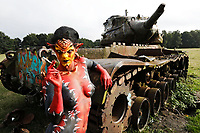 GEEK ART - Bodypainting meets SciFi, Fantasy and more: Photoshooting with model Barbara as Tank-Devil on a military training ground with tank wrecks in Langenhagen on July 10, 2017 - A project of the photographer Tschiponnique Skupin and the bodypainter and transformaker Enrico Lein