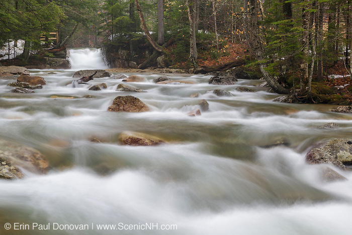 "The Baby Flume on the Pemigewasset River in Franconia Notch State Park of Lincoln, New Hampshire on a spring day. This natural feature is located a short ways down river from the ""The Basin"" viewing area."