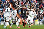 Real Madrid´s Sergio Ramos and Casemiro and Celta de Vigo´s Wass during 2015/16 La Liga match between Real Madrid and Celta de Vigo at Santiago Bernabeu stadium in Madrid, Spain. March 05, 2016. (ALTERPHOTOS/Victor Blanco)