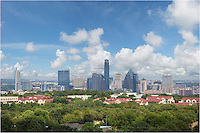 From a vantage point high over downtown, this Austin skyline image shows the capitol city's architecture and cityscape on a warm September afternoon. The Austonian is currently the tallest skyscraper in Austin, but that could be changing in the coming years as the Austin area continues its rapid growth.