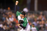 Dayton Dragons relief pitcher Aaron Quillen (25) in action against the Bowling Green Hot Rods at Fifth Third Field on June 8, 2018 in Dayton, Ohio. The Hot Rods defeated the Dragons 11-4.  (Brian Westerholt/Four Seam Images)