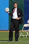 11 February 2006: Costa Rica head coach Alexandre Guimares handles the ball on the touchline. The Costa Rica Men's National Team defeated South Korea 1-0 at McAfee Coliseum in Oakland, California in an International Friendly soccer match.