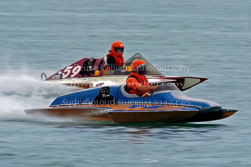 "T-2 ""Lil Miss Hillwinds"" (1977 Sooy cabover 1200cc class Hydroplane).and T-59 ""Scraps"" (1200cc Stock Staudaucher hydroplane)"