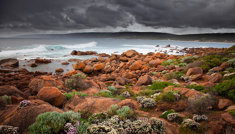 A stormy afternoon at Smith's Beach south of Yellingup, Western Australia.