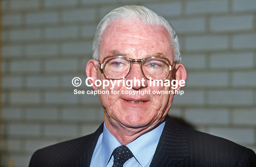 Wilson Ervin, group managing director, Northern Bank, N Ireland, 19840120WE.<br /> <br /> Copyright Image from Victor Patterson,<br /> 54 Dorchester Park, Belfast, UK, BT9 6RJ<br /> <br /> t1: +44 28 90661296<br /> t2: +44 28 90022446<br /> m: +44 7802 353836<br /> <br /> e1: victorpatterson@me.com<br /> e2: victorpatterson@gmail.com<br /> <br /> For my Terms and Conditions of Use go to<br /> www.victorpatterson.com
