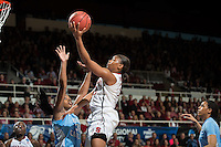 STANFORD, CA - The Stanford Cardinal competes against North Carolina in the Stanford Regional Finals at Maples Pavilion. At the end of the first half, Sanford 30, North Carolina 36.