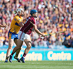 Conor Cleary of Clare in action against Johnny Coen of Galway during their All-Ireland semi-final at Croke Park. Photograph by John Kelly.