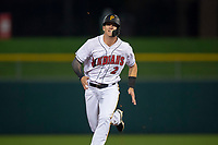 Indianapolis Indians center fielder Kevin Newman (2) hustles towards third base during an International League game against the Columbus Clippers on April 29, 2019 at Victory Field in Indianapolis, Indiana. Indianapolis defeated Columbus 5-3. (Zachary Lucy/Four Seam Images)