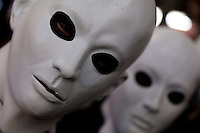 Young people dressed in white masks to celebrate Halloween in Shibuya, Tokyo, Japan. Thursday, October 31st 2013