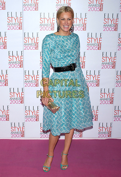 ALICE EVANS.Elle Style Awards 2005,.Spitalfields Market, London, .February 15th 2005..full length green blue printed dress belt.Ref: PL.www.capitalpictures.com.sales@capitalpictures.com.©Capital Pictures.