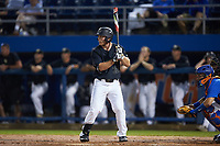 Ben Breazeale (39) of the Wake Forest Demon Deacons at bat against the Florida Gators in Game Three of the Gainesville Super Regional of the 2017 College World Series at Alfred McKethan Stadium at Perry Field on June 12, 2017 in Gainesville, Florida. The Gators defeated the Demon Deacons 3-0 to advance to the College World Series in Omaha, Nebraska. (Brian Westerholt/Four Seam Images)