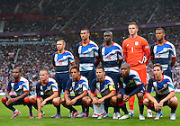 July 26, 2012..Members of Great Britain Football team pose for a group photograph before Senegal vs Great Britain Football match during 2012 Olympic Games at Old Trafford in Manchester, England. Senegal held Great Britain to a 1-1 draw...(Credit Image: © Mo Khursheed/TFV Media)