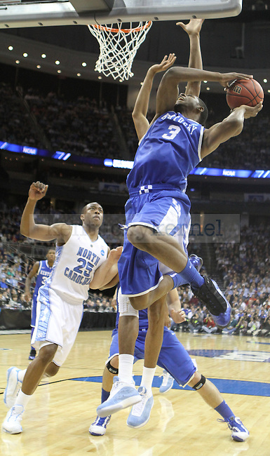 Terrence Jones takes a shot against North Carolina in the Elite 8 game of the 2011 NCAA Basketball Tournament, at the Prudential Center, in Newark, NJ.  Photo by Latara Appleby   Staff