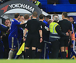 Chelsea's and Tottenham's players have a fracas at the final whistle during the Barclays Premier League match at Stamford Bridge Stadium.  Photo credit should read: David Klein/Sportimage