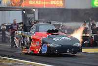Jun. 1, 2012; Englishtown, NJ, USA: NHRA funny car driver Blake Alexander during qualifying for the Supernationals at Raceway Park. Mandatory Credit: Mark J. Rebilas-