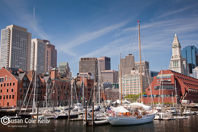 The Boston Harbor skyline frames the Boston Waterboat Marina, Boston, MA, USA