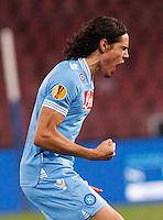 NAPOLI 08/11/2012 - GRUPPO F UEFA  EUROPA LEAGUE.INCONTRO NAPOLI - DNIPRO.NELLA FOTO  ESULTANZA  EDINSON CAVANI.FOTO CIRO DE LUCA