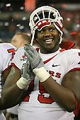 January 5th, 2008:  Rutgers lineman Anthony Davis smiles while listening to Ray Rice giving his MVP speach after the International Bowl at the Rogers Centre in Toronto, Ontario Canada...Rutgers defeated Ball State 52-30.  ..Photo By:  Mike Janes Photography