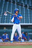 AZL Cubs 2 Chase Strumpf (15) at bat during an Arizona League game against the AZL Dbacks on June 25, 2019 at Sloan Park in Mesa, Arizona. AZL Cubs 2 defeated the AZL Dbacks 4-0. (Zachary Lucy/Four Seam Images)