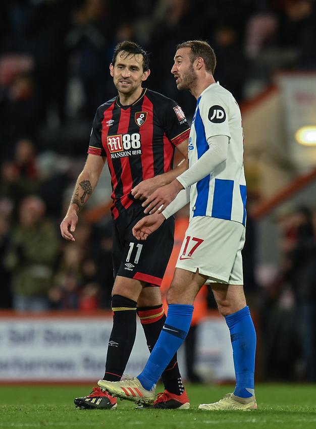 Bournemouth's Charlie Daniels (left) and Brighton & Hove Albion's Glenn Murray (right)  have a chat and a laugh after the final whistle<br /> <br /> Photographer David Horton/CameraSport<br /> <br /> The Premier League - Bournemouth v Brighton and Hove Albion - Saturday 22nd December 2018 - Vitality Stadium - Bournemouth<br /> <br /> World Copyright © 2018 CameraSport. All rights reserved. 43 Linden Ave. Countesthorpe. Leicester. England. LE8 5PG - Tel: +44 (0) 116 277 4147 - admin@camerasport.com - www.camerasport.com