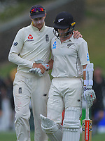 England captain Joe Root congratulates NZ captain Kane Williamson after rain halts play during day five of the international cricket 2nd test match between NZ Black Caps and England at Seddon Park in Hamilton, New Zealand on Tuesday, 3 December 2019. Photo: Dave Lintott / lintottphoto.co.nz